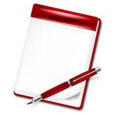 Lápis vermelho e página em branco de um notebook para sua mensagem — Vetorial Stock