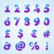 Shiny numbers and letters with diamond texture — Stock vektor