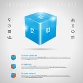 Abstract 3D shiny cube and gray icons - infographics template — Stock Vector