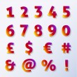 Numbers and letters with diamond texture and shadow — Vector de stock