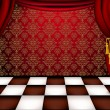 Royal hall with red curtains and checkered tiles — Stock Vector