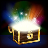 Chest with glowing treasure — Stock Vector