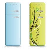 两个复古的冰箱-白色衬底上分离 — 图库矢量图片