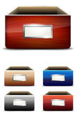 Set of empty drawers with label — Stock Vector