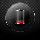 Kovové pozadí se sklem téměř prázdné baterie tlačítko — Stock vektor