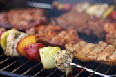 Meat and skewers on the grill — Stock Photo