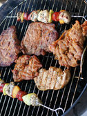Meat and skewers on the grill — Stock fotografie