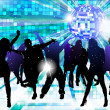 Stock Vector: Dancing young people - disco party