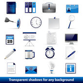 Set of office and business 3D glossy icons — Stock Vector