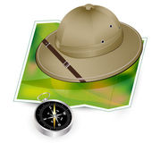 Safari hat, map and compass - travel icon — Stock Vector