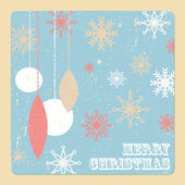 Retro christmas card with Christmas balls and snowflakes — Stock Vector