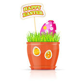 Flowerpot with grass and easter egg — 图库矢量图片