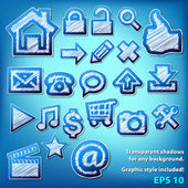 Scribbled grungy icons — Stock Vector