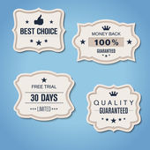 Set of retro paper banners with QUALITY GUARANTEED etc — Vecteur