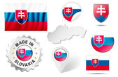 Set of flags, maps etc. of Slovakia - isolated on white — Stock Vector
