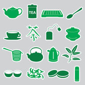 Tea stickers set eps10 — Stok Vektör