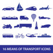 Stock Vector: Means of transport icon set eps10