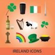 Stock Vector: Ireland icons set eps10