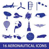 Aeronautical icons set eps10 — Stock Vector