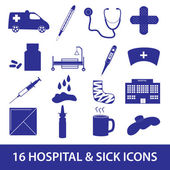 Hospital and sick icon set eps10 — Vecteur