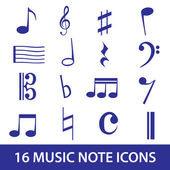 Music note icon set eps10 — Stockvector