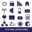 Stock Vector: Laptop and pc indication icons eps10