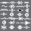Stock Vector: Schematic symbols in electrical engineering stickers eps10