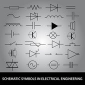 Schematic symbols in electrical engineering icon set eps10 — Stock Vector
