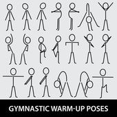 Gymnastic warm-up poses eps10 — Stockvektor
