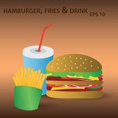 Vector hamburger, fries and drink eps10 — Stock Vector