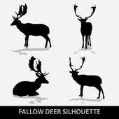 Fallow deer silhouette icons eps10 — Stock Vector