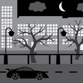Night street with car, tree and buildings eps10 — Stock Vector