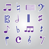 Music note stickers icon set eps10 — Stok Vektör