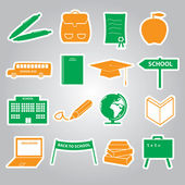 School stickers icon set eps10 — Stock Vector