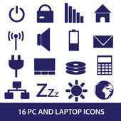 Laptop and pc indication icons eps10 — Stock Vector
