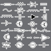 Schematic symbols in electrical engineering stickers eps10 — Stock Vector