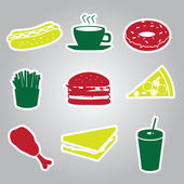 Fast food stickers set eps10 — Stock Vector
