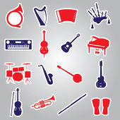 Musical instruments stickers eps10 — Vector de stock