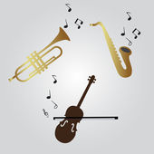 Violin, trumpet and saxophone icons eps10 — Stock Vector