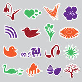 Spring stickers set eps10 — Stock Vector