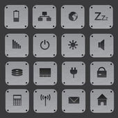 Metal texture buttons with replaceable computer icons eps10 — Stock Vector