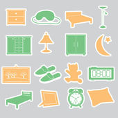 Bedroom stickers set eps10 — Stock Vector