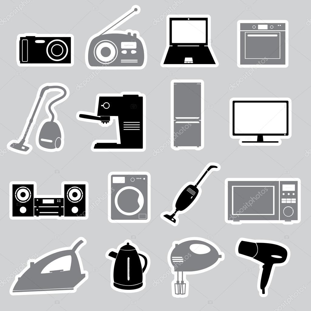 elektrische haushaltsger te aufkleber set eps10 stockvektor 40229433. Black Bedroom Furniture Sets. Home Design Ideas