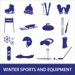 Winter sports and equipment icons eps10 — Stock Vector