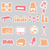 Living room stickers set eps10 — Stok Vektör