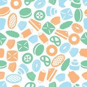 Sweet desserts colorful pattern eps10 — Stockvektor