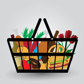 Shopping cart with foodstuffs icons eps10 — Stock Vector