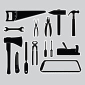 Hand tools stickers set eps10 — Stock Vector