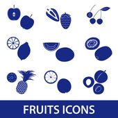 Fruits and half fruits icons eps10 — Stock Vector