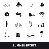 Summer sports and equipment icon set eps10 — Stock Vector
